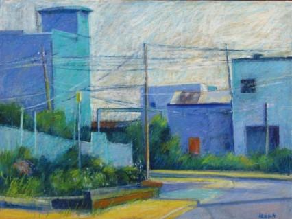 Industrial Blue, Red Door by Aleda O'Connor