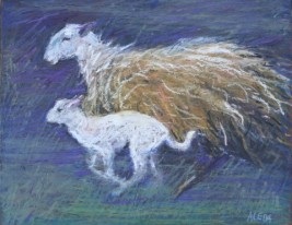 "Two Running by Aleda O'Connor 11"" x 14"" SOLD"