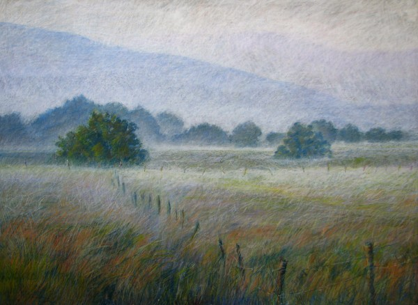"Floodplain by Aleda O'Connor. Oil pastel on wood panel. 36"" x 48"""