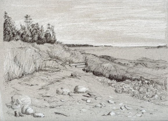 "Beach, Woodwards Cove 9"" x 12"""