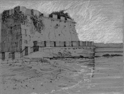 "Beach, Sicily 9"" x 12"""