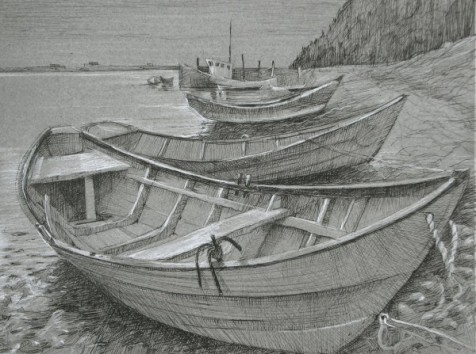 "Dories 9"" x 12"" SOLD"