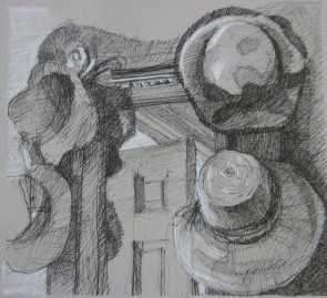 """Hats, Front Hall 10"""" x 10"""" SOLD"""