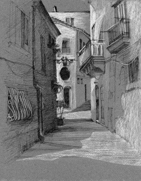 "Via Pompeo Picherali Sicily 9"" x 12"""