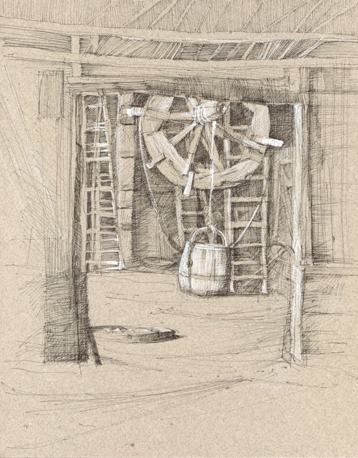 "Winch, Herring Shed,  Pen and Ink on Toned Paper, 10"" x 12"" by Aleda O'Connor"