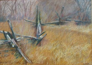 "Split Rail Fence, 20"" x 28"""