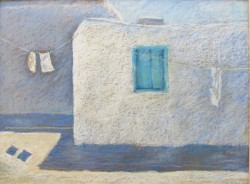 "Blue Shutters Greece, 18"" x 24"""