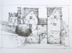 Pen and ink Drawing of gate to Lismore Castle.
