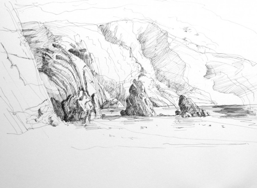 "Goat Island Ardmore, by Aleda O'Connor 8 1/2"" x 11"" Pen and Ink"