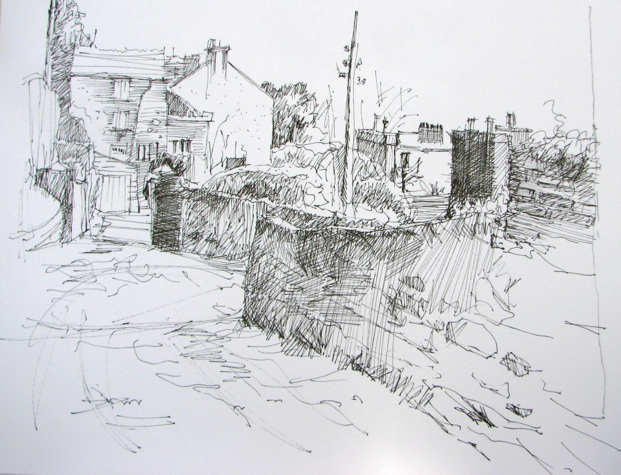 "Middle Glanmire Road, Cork by Aleda O'Connor 8 1/2 "" x 11"" Pen and Ink"