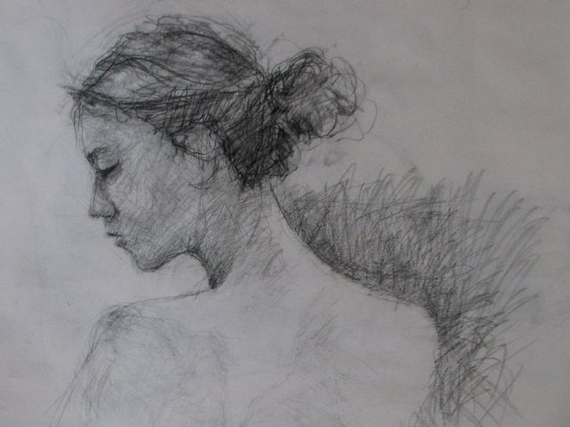 "Profile 18"" x 24"" Carbon pencil on cartridge paper by Aleda O'Connor"