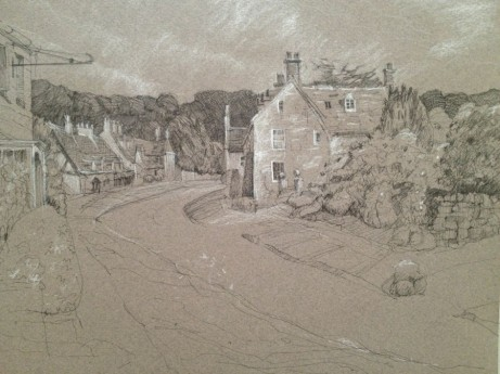 "Broadway Village, Cotswolds England  9"" x 12"" Pen, Ink and White Charcoal on Toned Paper"