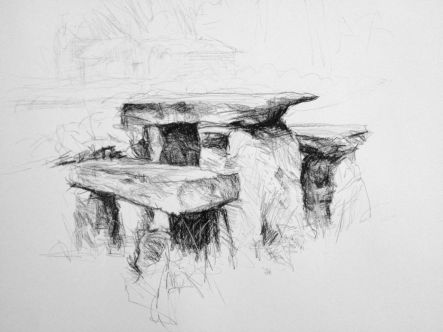 "Stone Table and Benches, Gould Farm Carbon Pencil on Paper 18"" x 24"""