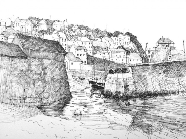 "Low Tide, Mevagissey Cornwall 8.5"" x 11"" Pen and Ink"