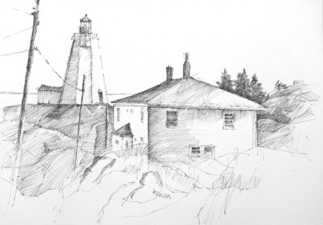 "Light keepers House Swallowtail Light, Grand Manan 8.5"" x 11"" Pen and Ink"