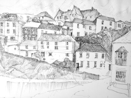 """Mevagissey Harbour, Cornwall 8.5"""" x 11"""" Pen and Ink"""
