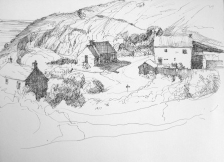 "Porthgwarra Village View 8.5"" x 11"" Pen and Ink"