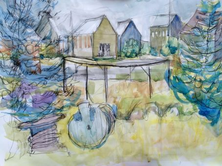 """Seal Cove Sheds and Spools 18"""" x 24 """"Charcoal with Watercolour"""