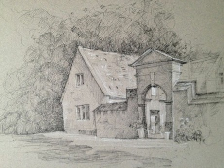 "Stanway House, Cotswold District England 9"" x 12"" Pen, Ink and White Charcoal on Toned Paper"