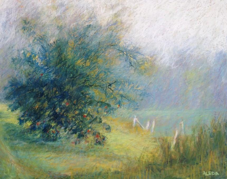 """Path and Apple Tree 18"""" x 24"""" Oil Pastel on Wood Panel"""