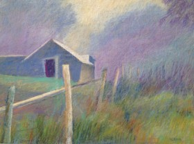 "Fence and Barn 18"" x 24"""