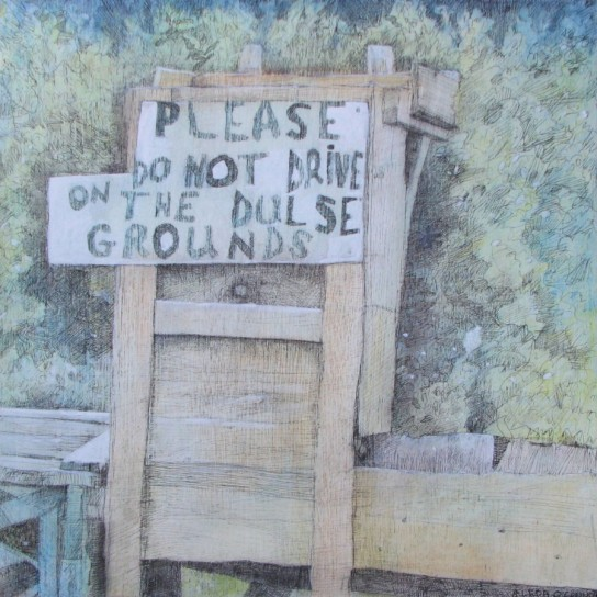 "Please Do Not Drive: Mixed Media on Wood Panel, by Aleda O'Connor 12"" x 12"""