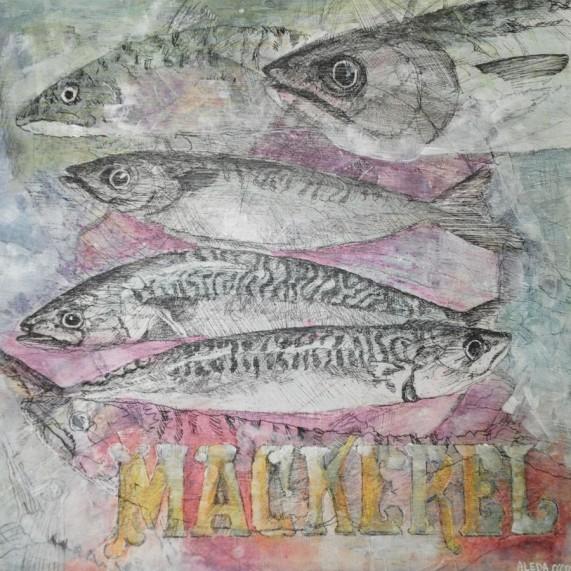 Mackerel: Mixed Media on Wood Panel