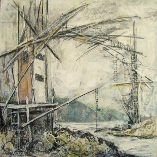 "Dark Harbour Span Concept Looking South, by Aleda O'Connor, mixed media 12"" x12"""