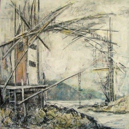 """Dark Harbour Span Concept Looking South, by Aleda O'Connor, mixed media 12"""" x12"""""""
