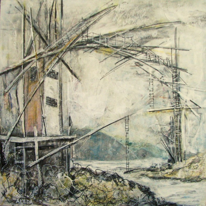 "Dark Harbour Span Concept Looking South, Mixed Media  12"" x 12"" by Aleda O'Connor"