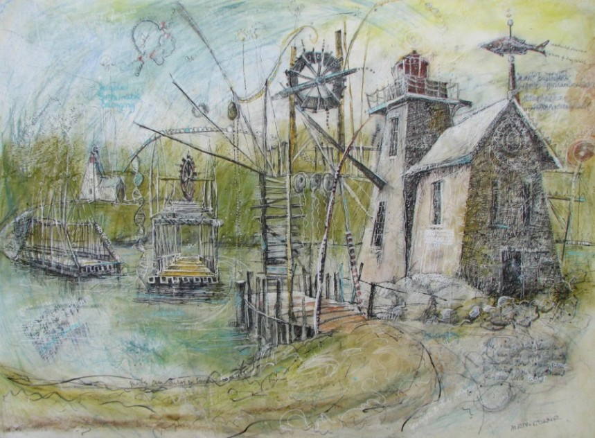 "Proposal for Thoroughfare Crossing and Fishfluke Light Reconstruction, 18"" x 24"" Mixed Media on Panel, by Aleda O'Connor"