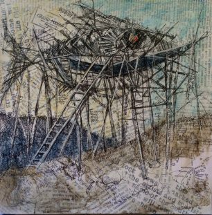 "Whale Cove Seawall Enhancement Proposal Mixed Media 12"" x 12"" SOLD"