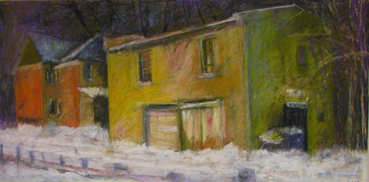 "Yellow House Winter 24"" x 36"" SOLD"