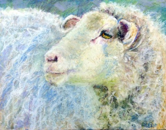 "Ewe Solo Oil Pastel on Panel. 11"" x 14"""