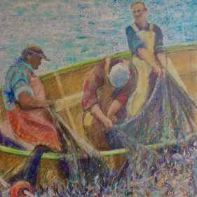 """Fishers Mixed Media on Panel 12"""" x 12"""" SOLD"""