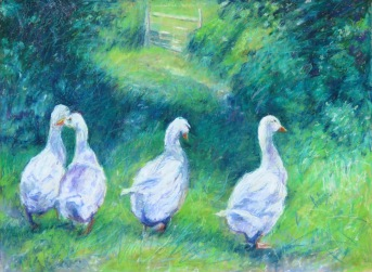 "Four Geese 18"" x 24"" SOLD"