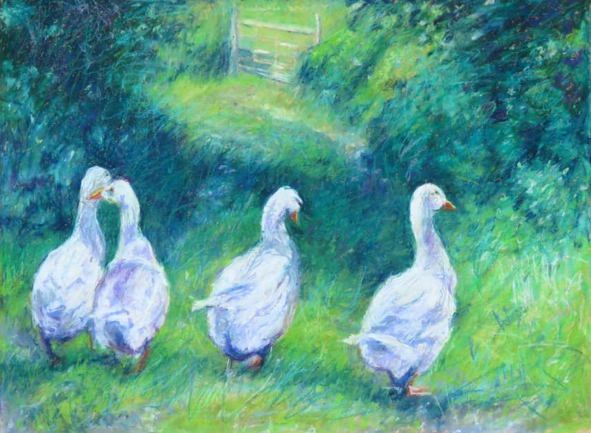 """Four Geese 18"""" x 24"""" SOLD"""