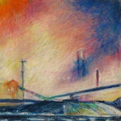 "Night Mill Blue 12"" x 12"" SOLD"