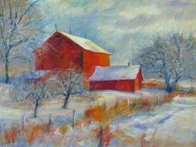 "Red Barn Ice 30"" x 40"" SOLD"