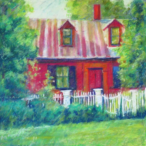 """Red House White Fence 24"""" x 24"""" SOLD"""