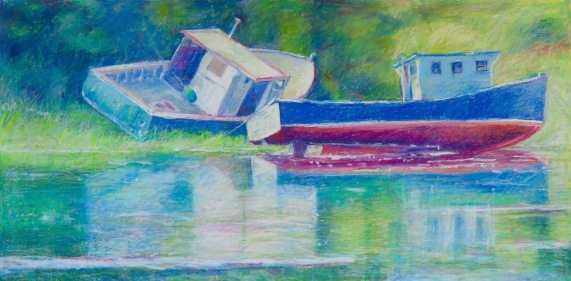 """Two Boats 24"""" x 48"""""""